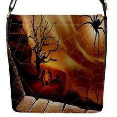 Digital Art Nature Spider Witch Spiderwebs Bricks Window Trees Fire Boiler Cliff Rock Flap Messenger Bag (s) by Simbadda