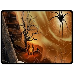 Digital Art Nature Spider Witch Spiderwebs Bricks Window Trees Fire Boiler Cliff Rock Double Sided Fleece Blanket (large)  by Simbadda