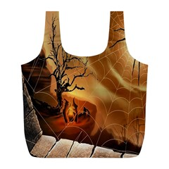 Digital Art Nature Spider Witch Spiderwebs Bricks Window Trees Fire Boiler Cliff Rock Full Print Recycle Bags (l)  by Simbadda