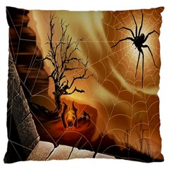 Digital Art Nature Spider Witch Spiderwebs Bricks Window Trees Fire Boiler Cliff Rock Standard Flano Cushion Case (one Side) by Simbadda