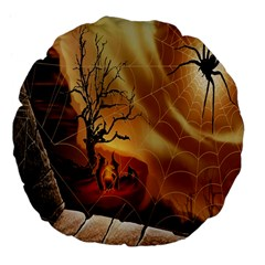 Digital Art Nature Spider Witch Spiderwebs Bricks Window Trees Fire Boiler Cliff Rock Large 18  Premium Flano Round Cushions by Simbadda