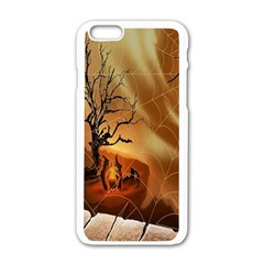 Digital Art Nature Spider Witch Spiderwebs Bricks Window Trees Fire Boiler Cliff Rock Apple Iphone 6/6s White Enamel Case by Simbadda