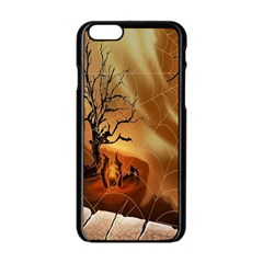 Digital Art Nature Spider Witch Spiderwebs Bricks Window Trees Fire Boiler Cliff Rock Apple Iphone 6/6s Black Enamel Case by Simbadda