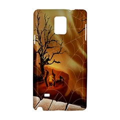Digital Art Nature Spider Witch Spiderwebs Bricks Window Trees Fire Boiler Cliff Rock Samsung Galaxy Note 4 Hardshell Case by Simbadda