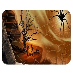 Digital Art Nature Spider Witch Spiderwebs Bricks Window Trees Fire Boiler Cliff Rock Double Sided Flano Blanket (medium)  by Simbadda