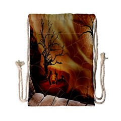 Digital Art Nature Spider Witch Spiderwebs Bricks Window Trees Fire Boiler Cliff Rock Drawstring Bag (small) by Simbadda