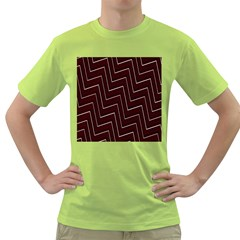 Lines Pattern Square Blocky Green T Shirt