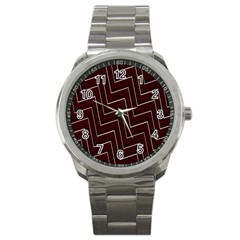 Lines Pattern Square Blocky Sport Metal Watch by Simbadda