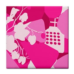 Flower Floral Leaf Circle Pink White Tile Coasters by Alisyart