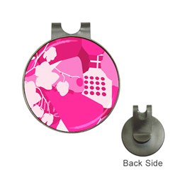 Flower Floral Leaf Circle Pink White Hat Clips With Golf Markers by Alisyart