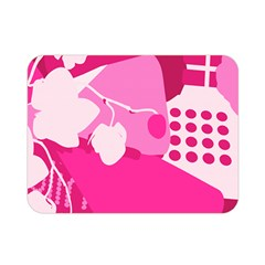 Flower Floral Leaf Circle Pink White Double Sided Flano Blanket (mini)  by Alisyart