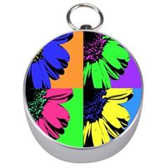 Flower Pop Sunflower Silver Compasses by Alisyart