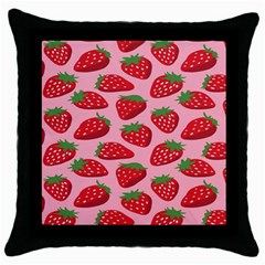 Fruit Strawbery Red Sweet Fres Throw Pillow Case (black) by Alisyart