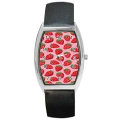 Fruit Strawbery Red Sweet Fres Barrel Style Metal Watch by Alisyart
