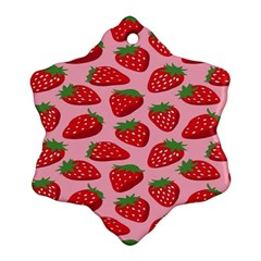 Fruit Strawbery Red Sweet Fres Snowflake Ornament (two Sides) by Alisyart