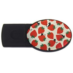 Fruit Strawberry Red Black Cat Usb Flash Drive Oval (2 Gb) by Alisyart