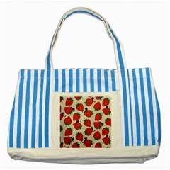 Fruit Strawberry Red Black Cat Striped Blue Tote Bag by Alisyart