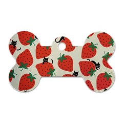 Fruit Strawberry Red Black Cat Dog Tag Bone (two Sides) by Alisyart