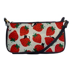 Fruit Strawberry Red Black Cat Shoulder Clutch Bags by Alisyart