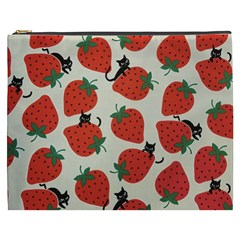 Fruit Strawberry Red Black Cat Cosmetic Bag (xxxl)  by Alisyart