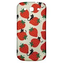 Fruit Strawberry Red Black Cat Samsung Galaxy S3 S Iii Classic Hardshell Back Case by Alisyart