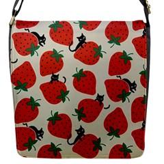 Fruit Strawberry Red Black Cat Flap Messenger Bag (s) by Alisyart