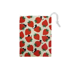 Fruit Strawberry Red Black Cat Drawstring Pouches (small)  by Alisyart