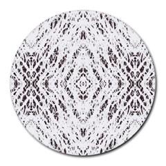 Pattern Monochrome Terrazzo Round Mousepads by Simbadda