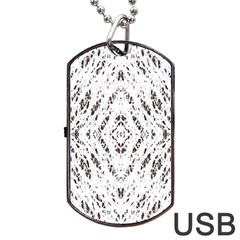 Pattern Monochrome Terrazzo Dog Tag Usb Flash (two Sides) by Simbadda