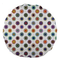 Flowers Color Artwork Vintage Modern Star Lotus Sunflower Floral Rainbow Large 18  Premium Flano Round Cushions by Alisyart