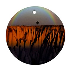 Rainbows Landscape Nature Round Ornament (two Sides) by Simbadda