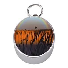 Rainbows Landscape Nature Mini Silver Compasses by Simbadda