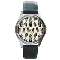 Succulent Plants Pattern Lights Round Metal Watch by Simbadda