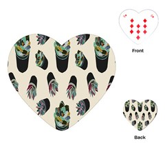 Succulent Plants Pattern Lights Playing Cards (heart)  by Simbadda