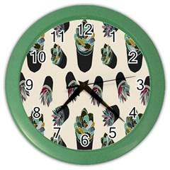 Succulent Plants Pattern Lights Color Wall Clocks by Simbadda