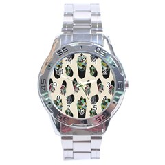 Succulent Plants Pattern Lights Stainless Steel Analogue Watch by Simbadda