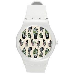 Succulent Plants Pattern Lights Round Plastic Sport Watch (m) by Simbadda