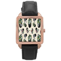 Succulent Plants Pattern Lights Rose Gold Leather Watch  by Simbadda