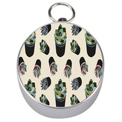 Succulent Plants Pattern Lights Silver Compasses by Simbadda