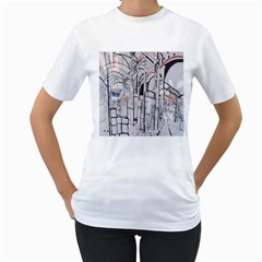 Cityscapes England London Europe United Kingdom Artwork Drawings Traditional Art Women s T Shirt (white) (two Sided) by Simbadda