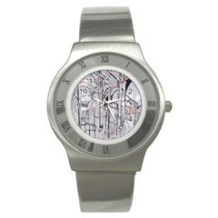 Cityscapes England London Europe United Kingdom Artwork Drawings Traditional Art Stainless Steel Watch by Simbadda