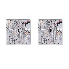 Cityscapes England London Europe United Kingdom Artwork Drawings Traditional Art Cufflinks (square) by Simbadda