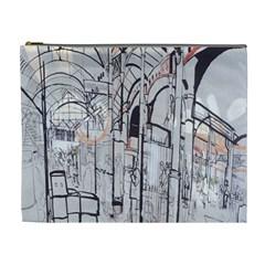 Cityscapes England London Europe United Kingdom Artwork Drawings Traditional Art Cosmetic Bag (xl) by Simbadda