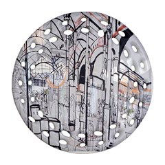 Cityscapes England London Europe United Kingdom Artwork Drawings Traditional Art Round Filigree Ornament (two Sides) by Simbadda