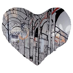 Cityscapes England London Europe United Kingdom Artwork Drawings Traditional Art Large 19  Premium Heart Shape Cushions by Simbadda