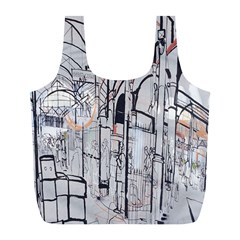 Cityscapes England London Europe United Kingdom Artwork Drawings Traditional Art Full Print Recycle Bags (l)  by Simbadda