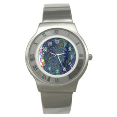 Glitch Art Stainless Steel Watch by Simbadda