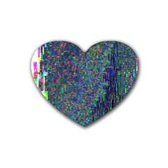 Glitch Art Rubber Coaster (heart)  by Simbadda