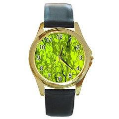 Concept Art Spider Digital Art Green Round Gold Metal Watch by Simbadda