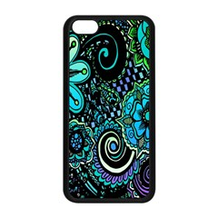 Sun Set Floral Apple Iphone 5c Seamless Case (black) by Simbadda